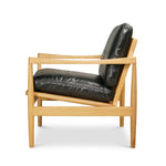 Den Arm Chair - OAk - Black Leather