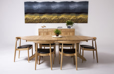 Dining Table Round with 2 Extensions - Oak