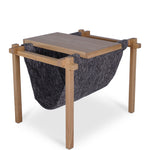 Forest Oak Side Table/Fabric Magazine Holder - Black