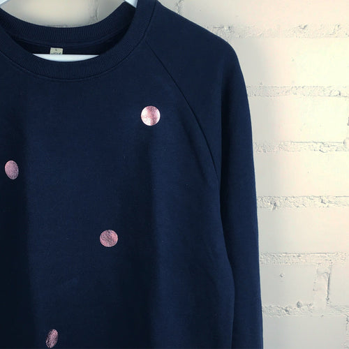 navy sweatshirt with rose gold metallic spots