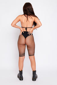 Mimi diamond fishnet top and shorts in black