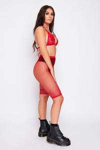 Mimi diamond fishnet top and shorts in red