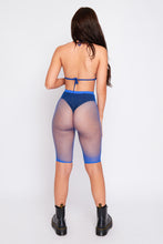 Load image into Gallery viewer, Mimi diamond fishnet top and shorts in blue