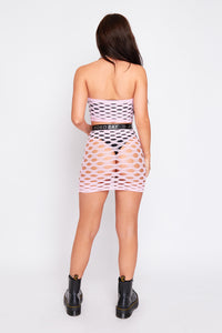 Tezia fishnet two piece in baby pink