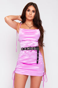 Macy satin ruched dress in purple