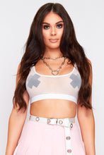 Load image into Gallery viewer, Lois mesh crop top in white