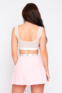 Lois mesh crop top in white