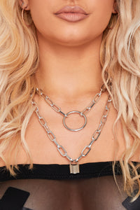 Double chain loop & padlock necklace in silver