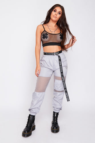 Storm mesh panel cargo pants in silver
