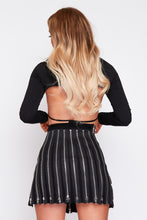 Load image into Gallery viewer, Cora cold shoulder extreme crop top in black