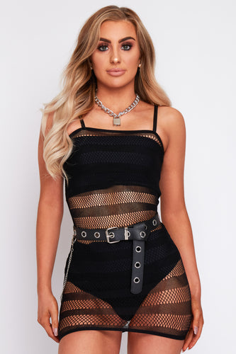 Kady striped mesh dress in black