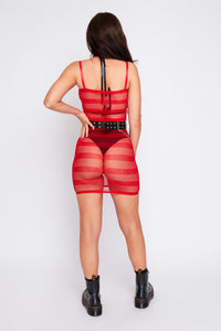 Kady striped mesh dress in red