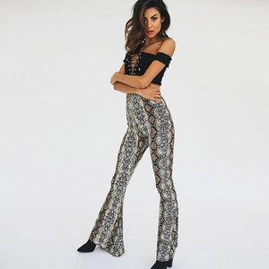 Emerson flare trousers in snake print