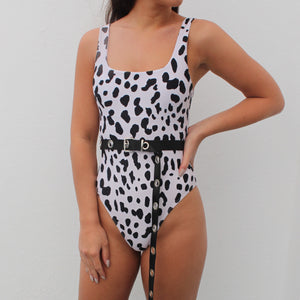 Asha swimsuit in black and white cow print
