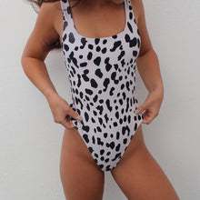 Load image into Gallery viewer, Asha swimsuit in black and white cow print