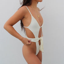 Load image into Gallery viewer, Tegan tie up swimsuit in white