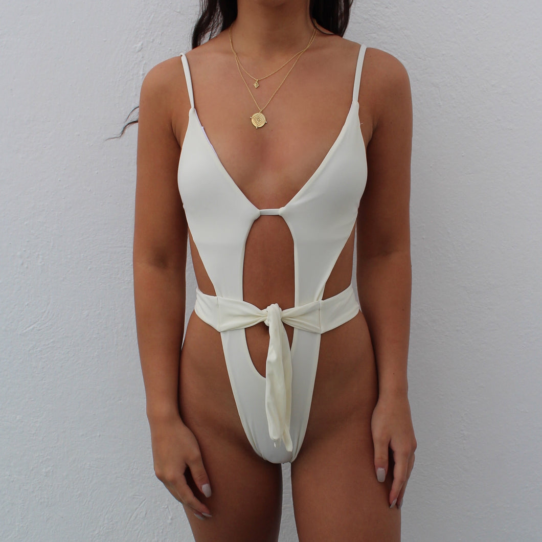 Tegan tie up swimsuit in white