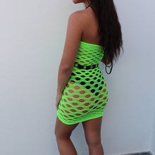 Load image into Gallery viewer, Amara fishnet hole dress in neon green