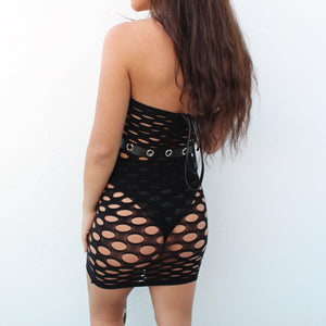 Amara fishnet hole dress in black