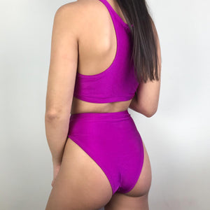 Alana high waisted bikini in neon purple