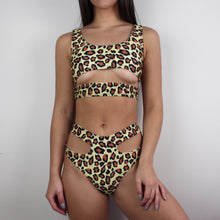 Load image into Gallery viewer, Nadia leopard print cut out bikini in yellow