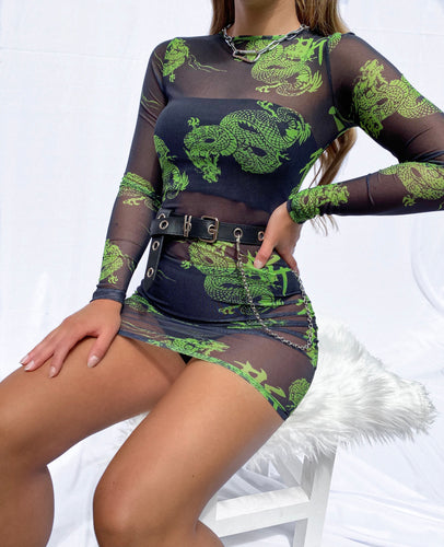 Riona mesh dragon dress in black and green