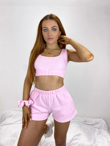 Fleece oversized shorts in pink