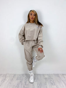 Oversized cord joggers in beige