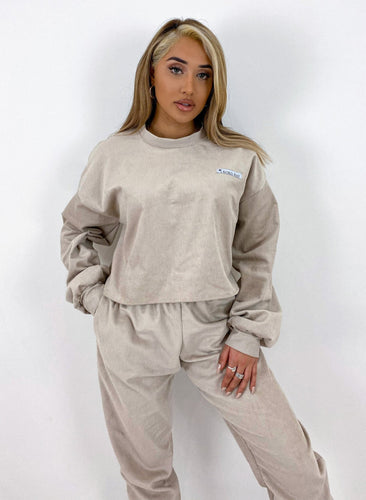 Oversized cord jumper in beige
