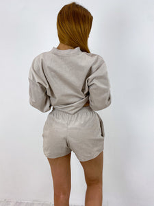 Oversized cord shorts in beige