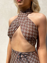 Load image into Gallery viewer, Checker print wrap top