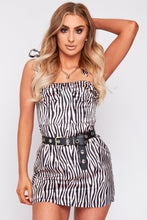 Load image into Gallery viewer, Kadie satin zebra dress in black and cream