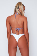 Load image into Gallery viewer, Lacy triangle bikini in white and silver