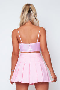Ivy pleated skirt in baby pink
