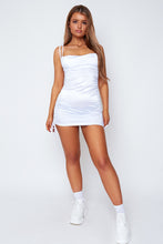 Load image into Gallery viewer, Macy satin dress in white