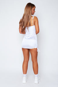 Macy satin dress in white