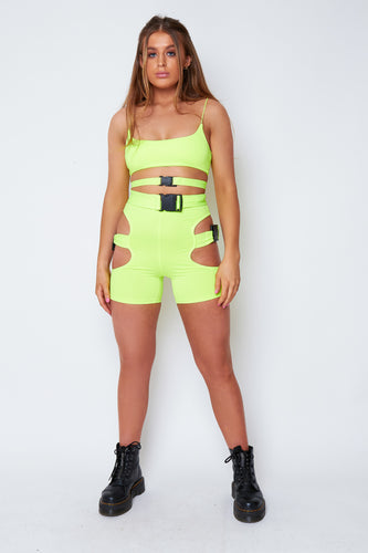 Kezia buckle two piece in neon green