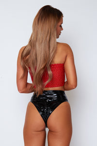 Grace fishnet bandeau crop top in red