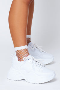 Fishnet socks in white