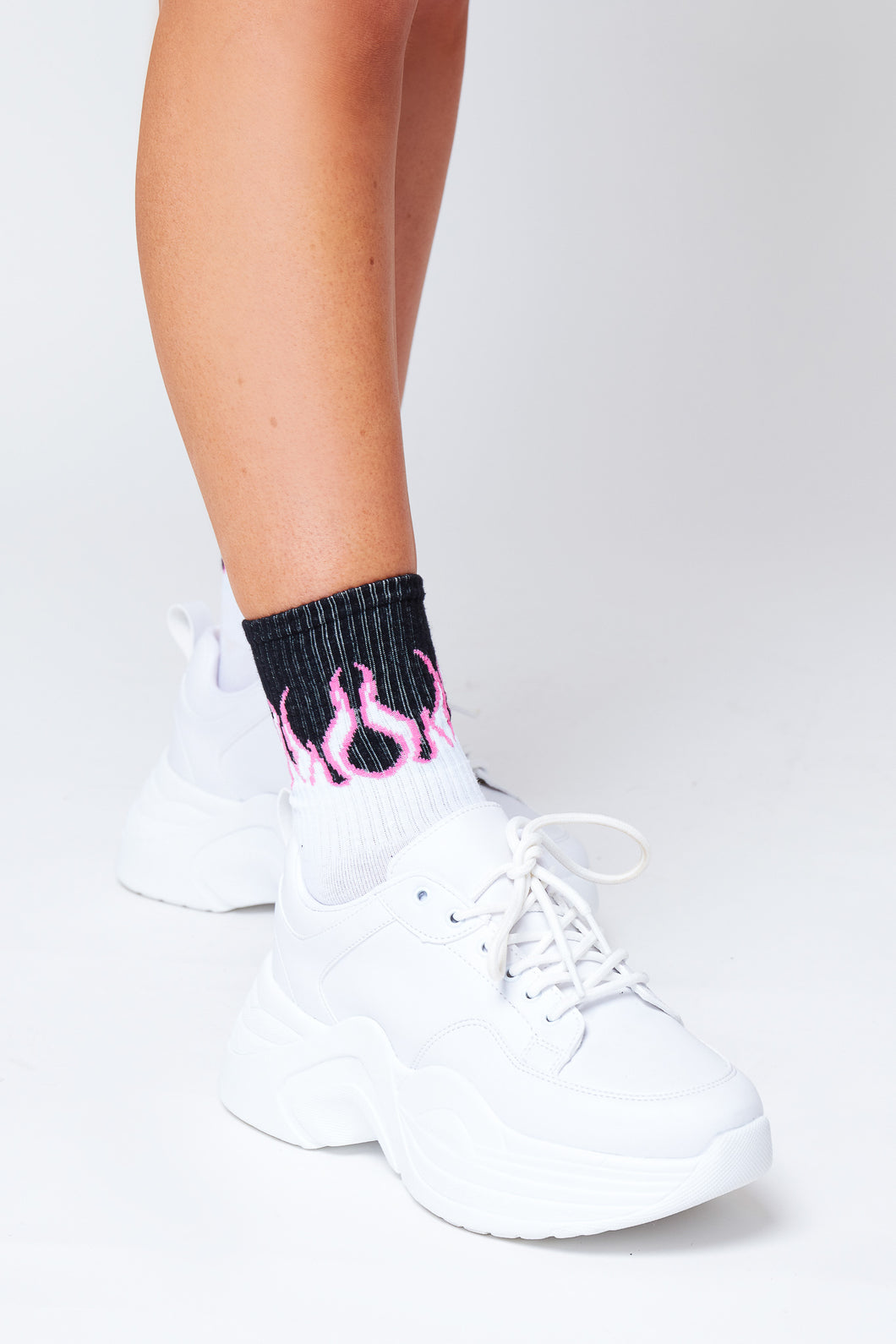 Flame socks in pink and white
