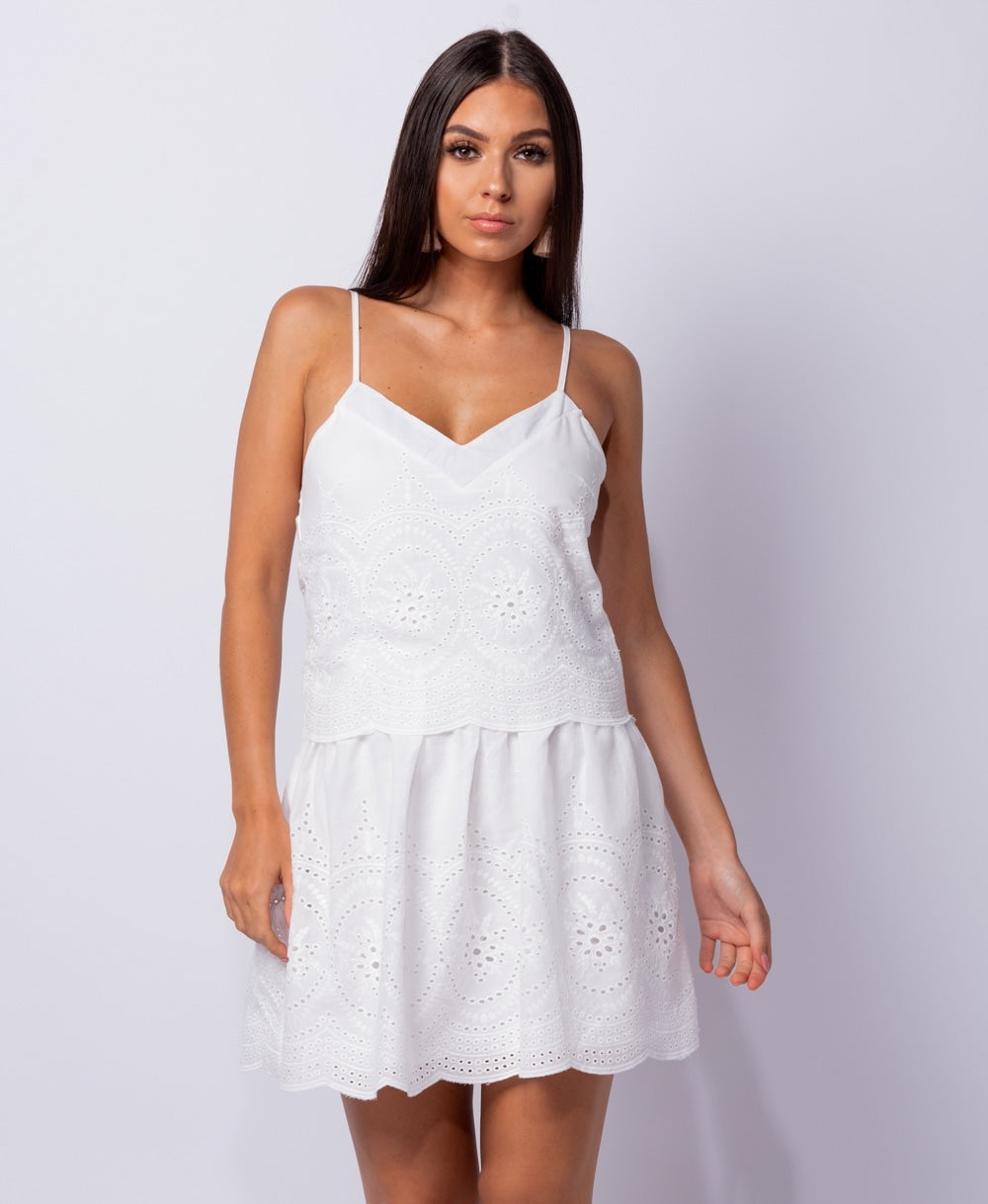 Celia lace v neck layered mini dress