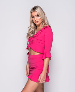 Alexa frill tie front crop top and skirt