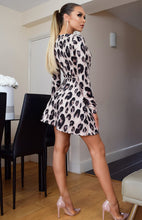 Load image into Gallery viewer, Leanne wrap front leopard print satin dress