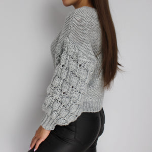 Kayley chunky knit jumper in grey