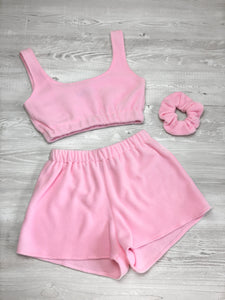 Fleece scrunched shorts in baby pink