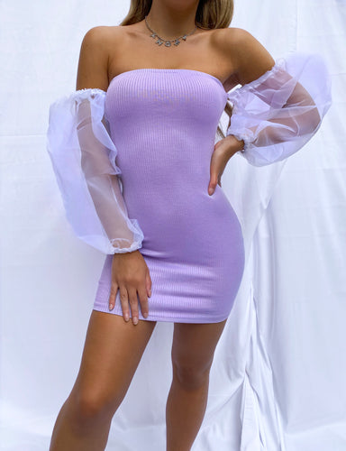 Maisie organza sleeve dress in lilac