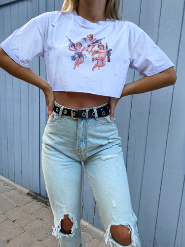 Blair angel crop top in white