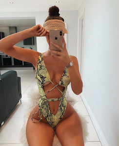 PRE ORDER Tara multiway snake print swimsuit in yellow
