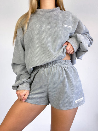 Oversized cord jumper in grey