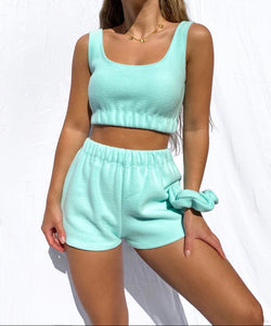 Fleece scrunched shorts in mint